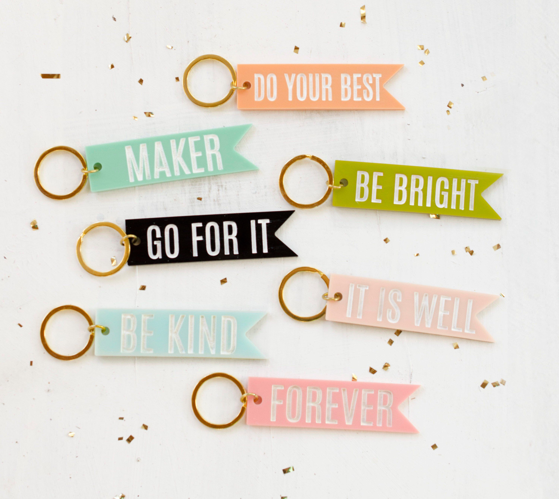 Acrylic Quote Keychains Pendant Keychain Personalized Etsy Colorful Keychain Personalized Keychain Keychain