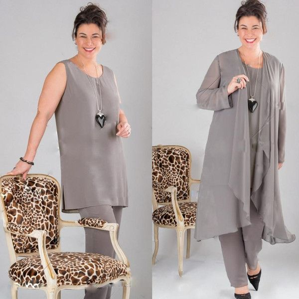 Elegant Gray Chiffon Mother of the bride Dresses Plus Size Mother ...