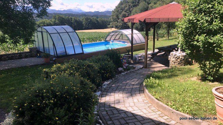 Anleitung wie man eine Poolumrandung selber baut - Holzdeck - anleitung pool selber bauen