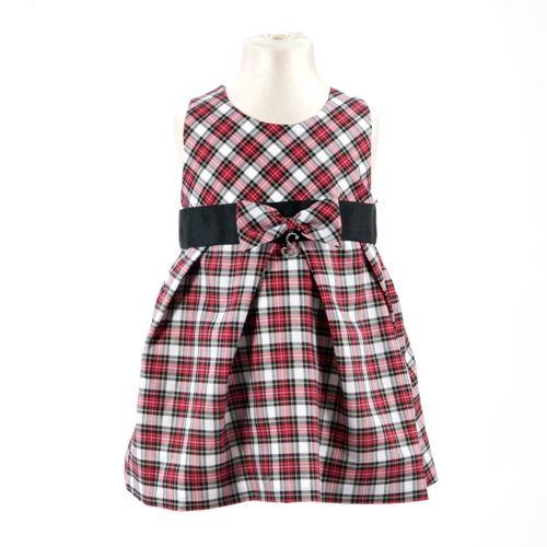 ◈ Vestido em Tartan vermelho, amarelo e branco; com aplicação de fita de gorgorão na cintura. ◈ O vestido é personalizado com uma letra que pode ser escolhida pelo cliente. [Composição: exterior: 100% algodão * forro: 100% poliéster * letra personalizada: metal * fita de gorgorão: 100% poliéster] - [Tamanhos: 68cm - 74cm - 80cm - 86cm - 92cm]