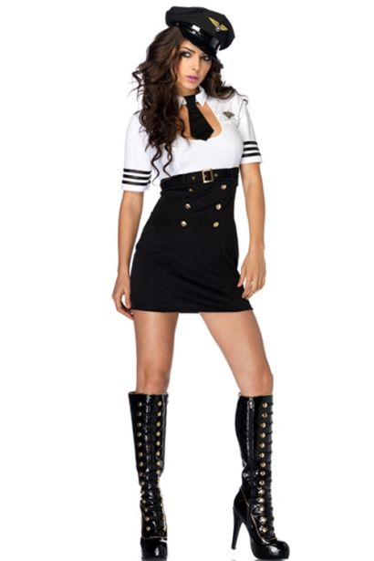 Sophisticated Lady in Uniform Exquisite Neat Arm Length Half Blouse - black skirt halloween costume ideas