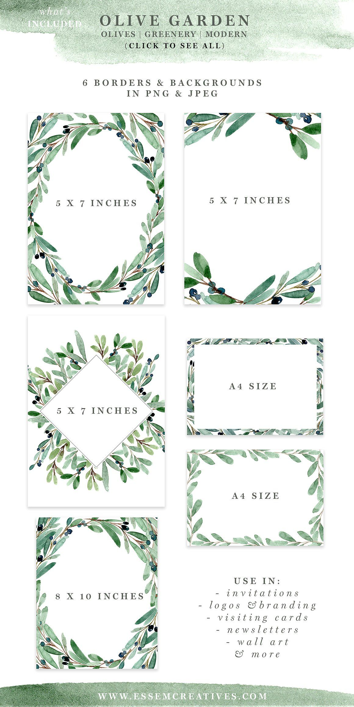 Watercolor Olive Branch Clipart, Rustic Greenery Wedding Invitation ...