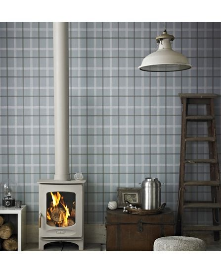 Light Blue Plaid Wallpaper W Grey Accessories Place For This