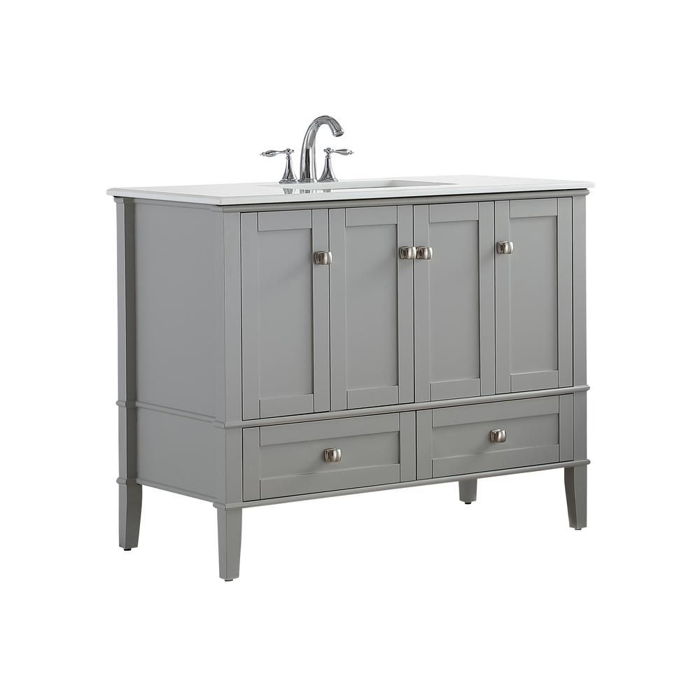 Simpli home 42 in w x 21 5 in d x 34 7 in h vanity in grey with engineered quartz marble vanity top in white with white basin