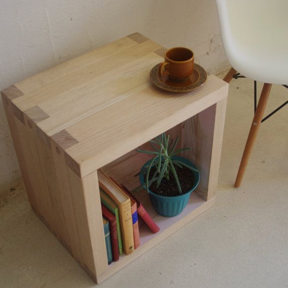 Wooden Side Or Coffee Table Storage Cube Handmade From Recycled Timber Via Etsy