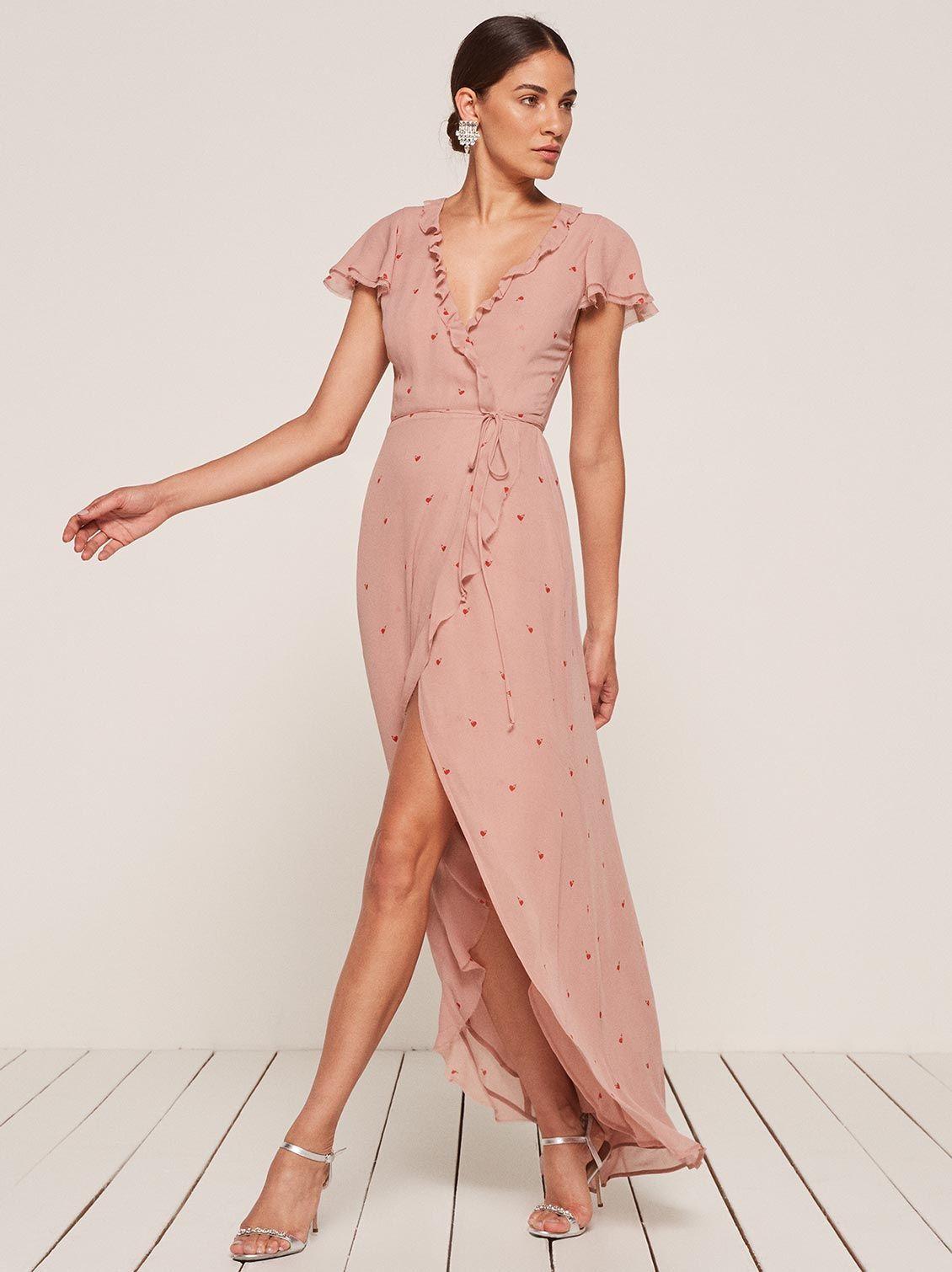 Foxtrot Pink Ruffle Maxi Wrap Dress Reformation