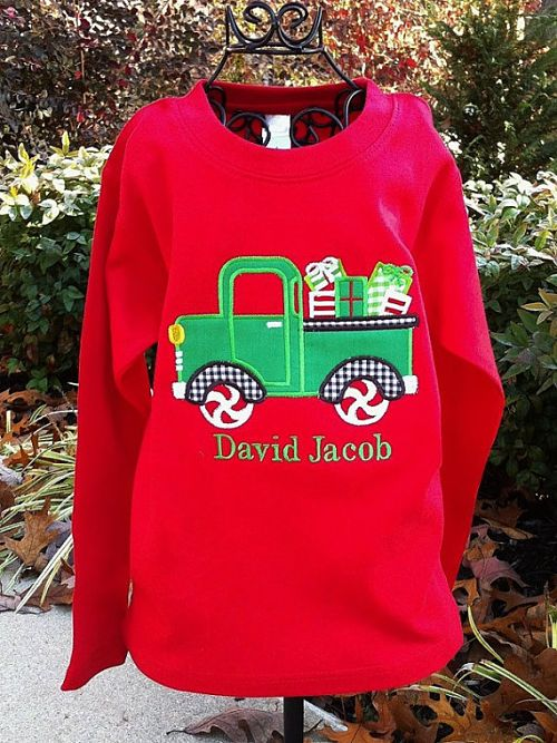 78b64a2f0 Boys Personalized Green Christmas Truck Red Shirt or Onesie ...