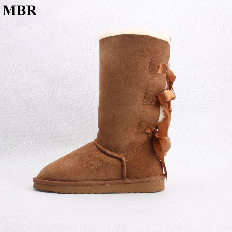 Women's Nubuck Bowknot Warm Snow Boots 5894