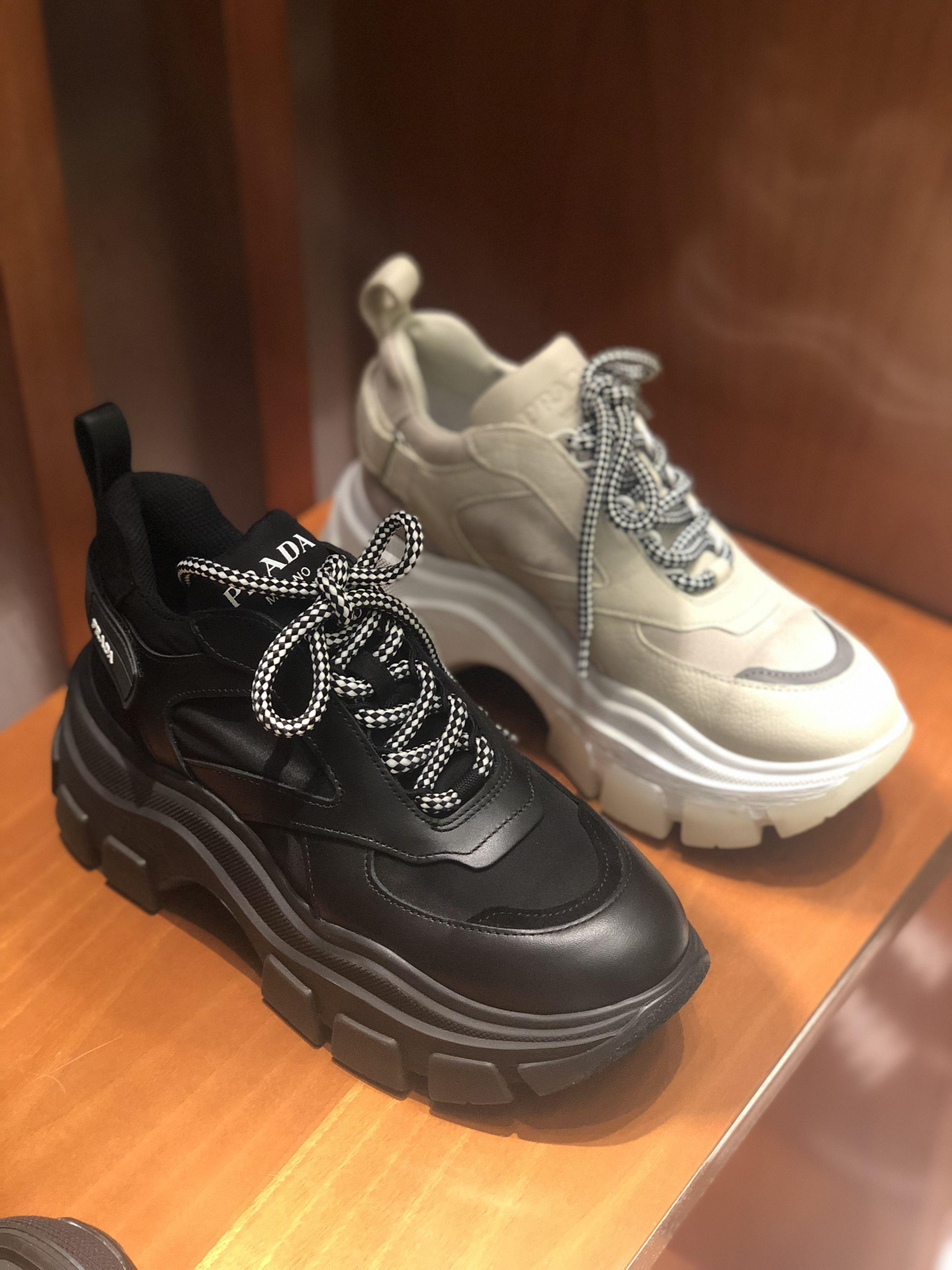 Permanentemente Todo el tiempo Y así  Nike Shoes 80% OFF!> Prada new platform block sneakers in black beige by  PSL #Nike #Nikeshoes #s… | Cute nike shoes, Platform shoes sneakers, Black  high heel boots