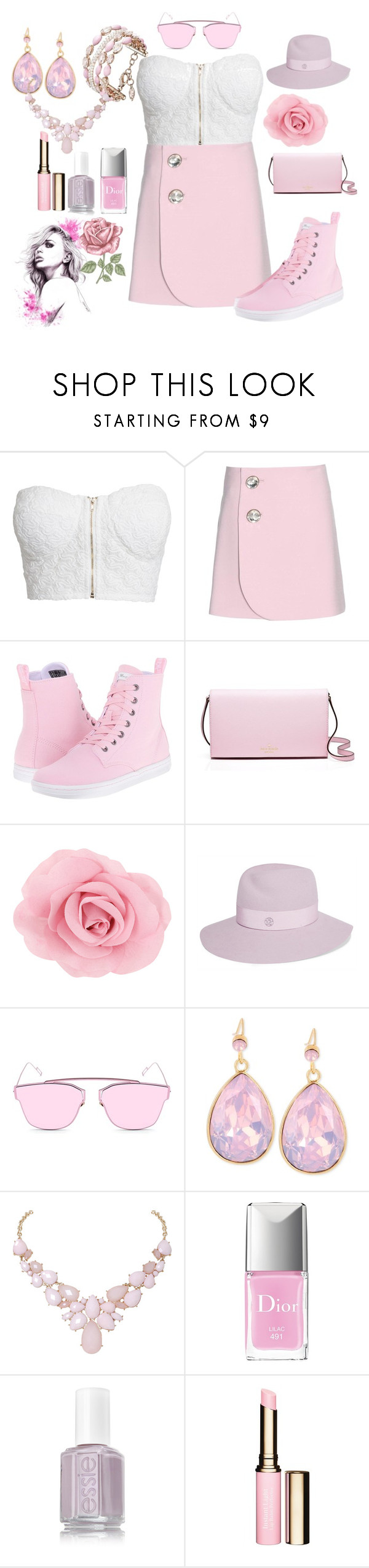 """""""Rose Petals (Pink & white)"""" by moniquedawson09123 ❤ liked on Polyvore featuring NLY Trend, Marni, Dr. Martens, Kate Spade, Maison Michel, de Grisogono, INC International Concepts, Humble Chic, Christian Dior and Clarins"""