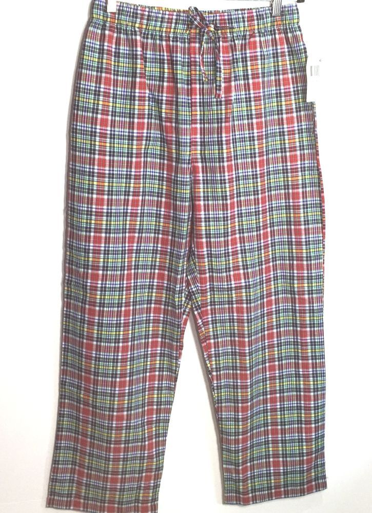 Chaps Plaid Pajama Medium Lounge Pants Sleepwear Bottoms Blue Red Green Yellow  #Chaps #LoungePants
