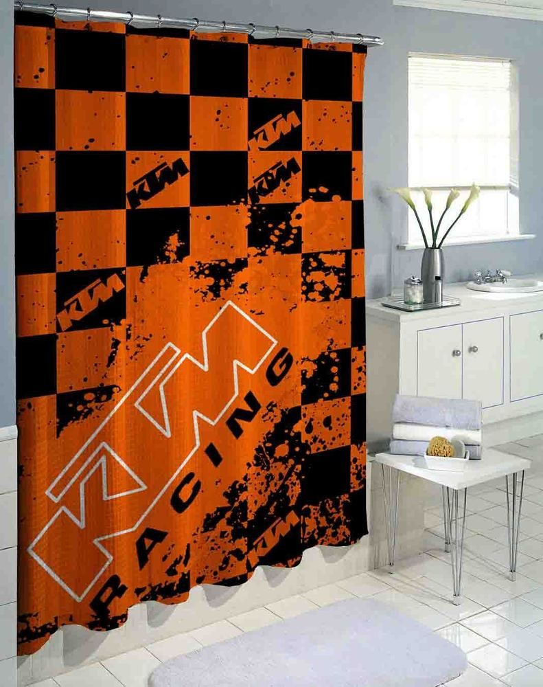 Hot KTM Splash Orange Logo High Quality Custom Shower Curtain 60x72 Unbranded