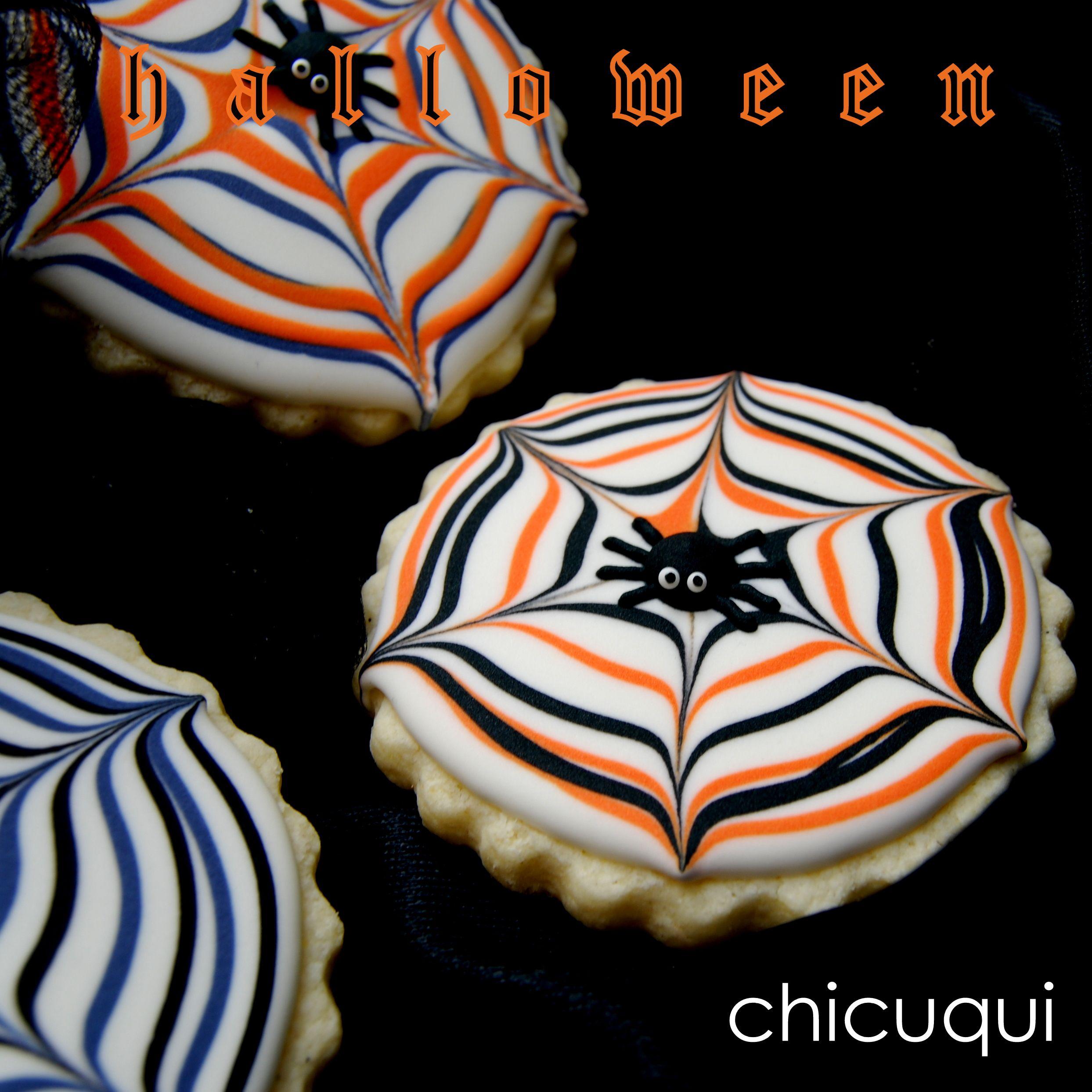Halloween galletas decoradas de telas araña tutorial en chicuqui.com