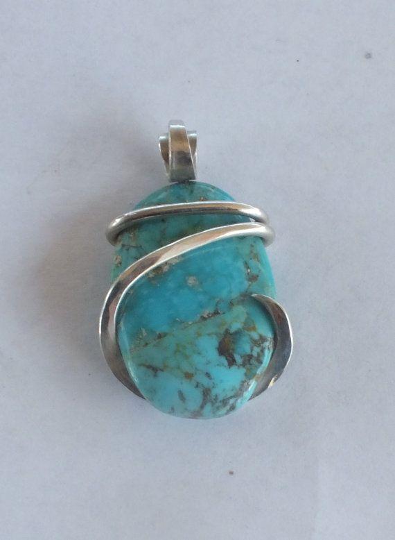 Handmade Kingman Turquoise pendant wrapped by bellasstonependants