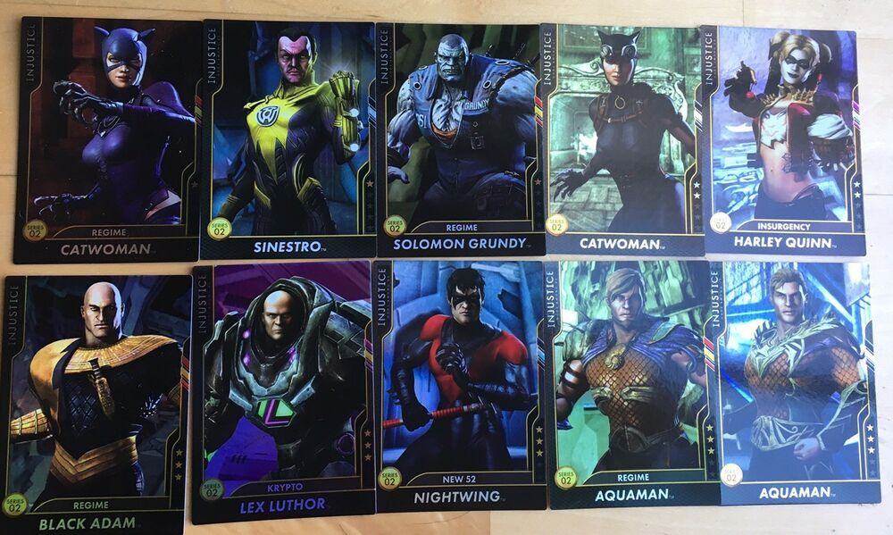 Lot Of 10 Injustice Gods Among Us Arcade Holofoil Cards Series 2 Injustice Cards Character