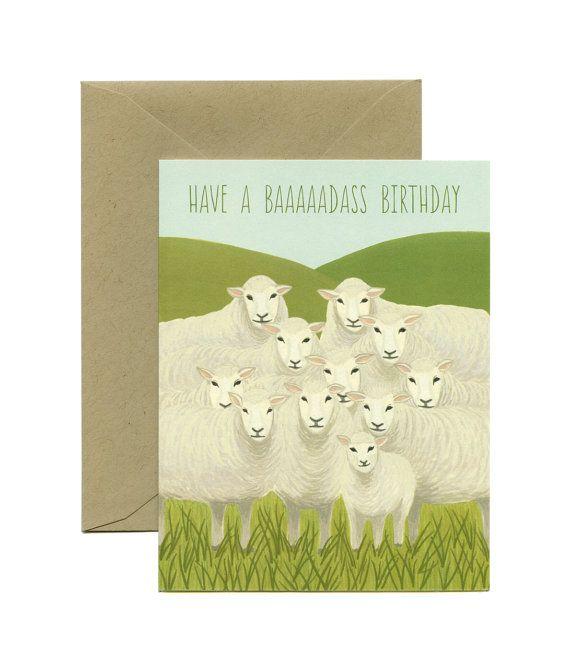 Flock Of Sheep Birthday Card Have A Baaaaadass Birthday Id