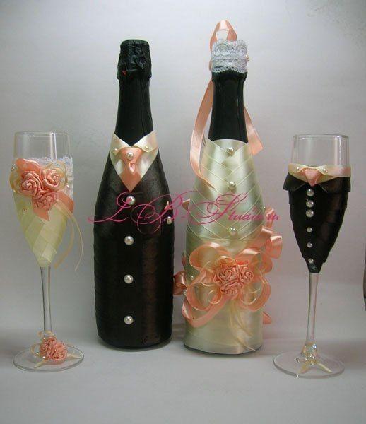 Decorated Glass Bottles Шампанское И Бокалы Жених И Невеста  Бутылки  Pinterest  Bottle