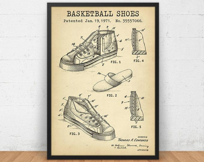Basketball shoes design patent digital download blueprint art basketball shoes design patent digital download blueprint art basketball player gifts boys room malvernweather Image collections