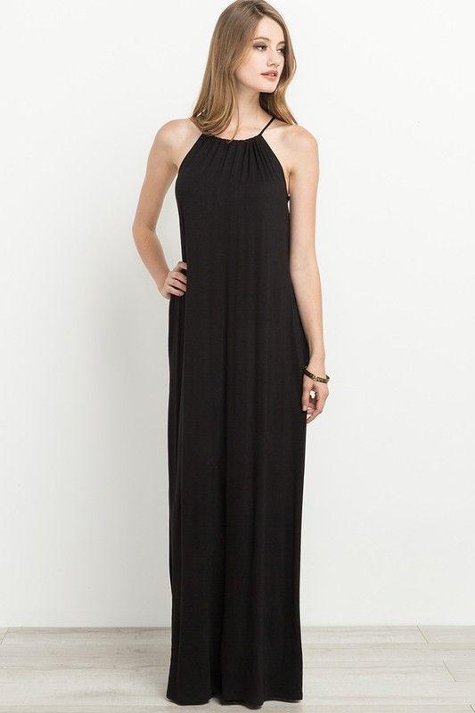 b58dbf5a2f Simple Black Halter Maxi Dress   Dresses   Halter maxi dresses ...