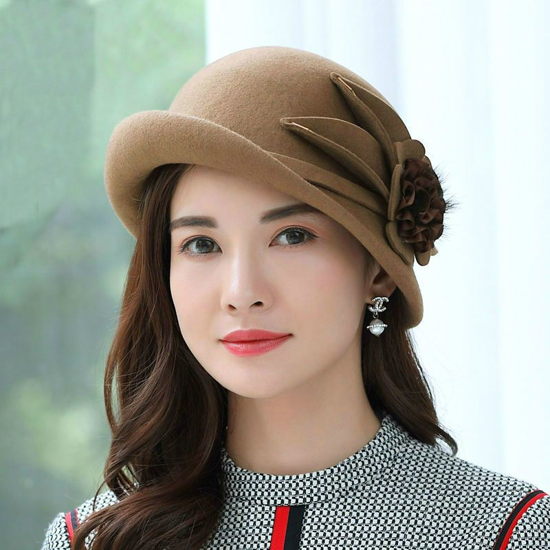 f6890fdb Beckyruiwu Lady Party Formal Hats Special Shade Fedora Hats Women Autumn  and Winter Asymmetric Brim Wool Felt Hat