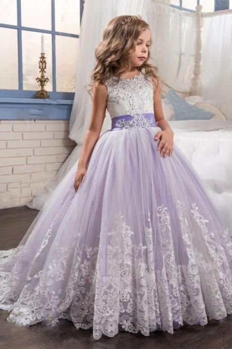 Lovely Lace Appliques Girl Long Pageant Dresses Ball Gown Pink