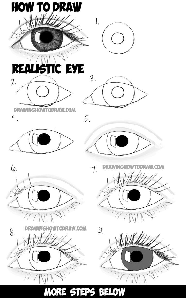 How to draw realistic eyes with step by step drawing tutorial in easy steps