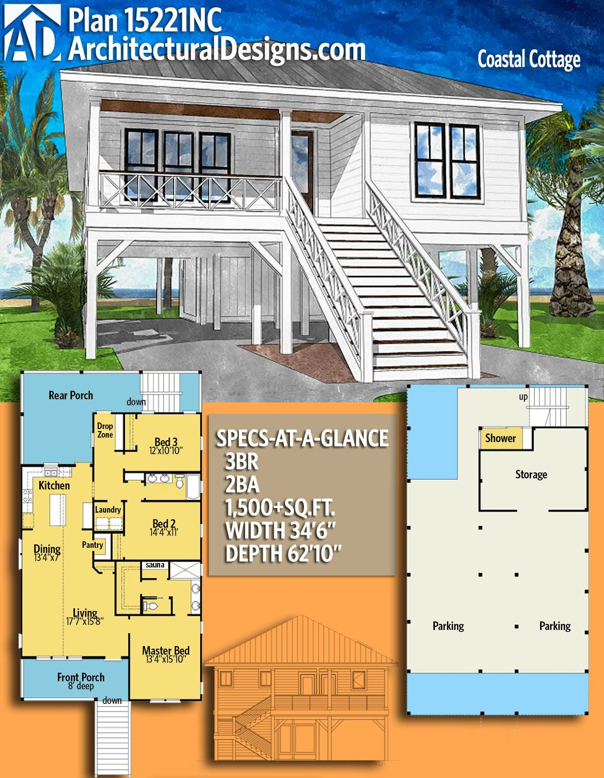 Plan 15221nc Coastal Cottage With Outdoor Shower Beach Cottage House Plans Coastal House Plans Small Beach Houses