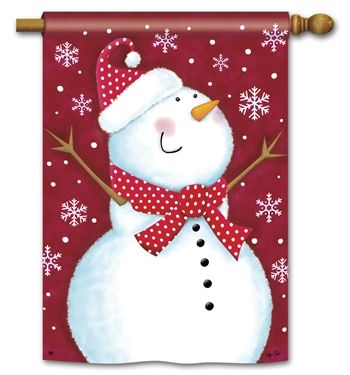Red Snowman House Flag