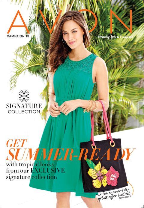 Avon brochure 13 featuring Avon Ruched Crochet Dress and Tropical Appliqué Tote! #summerfashion #summerstyle at youravon.com/henriettabell