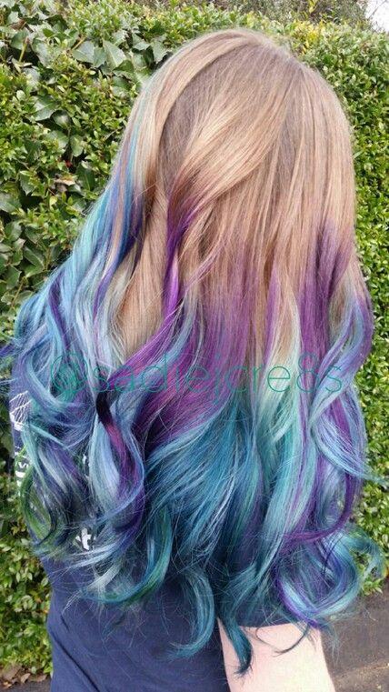 Mermaid Peacock Hair Purple Blonde Hair Ombre Hair Blonde