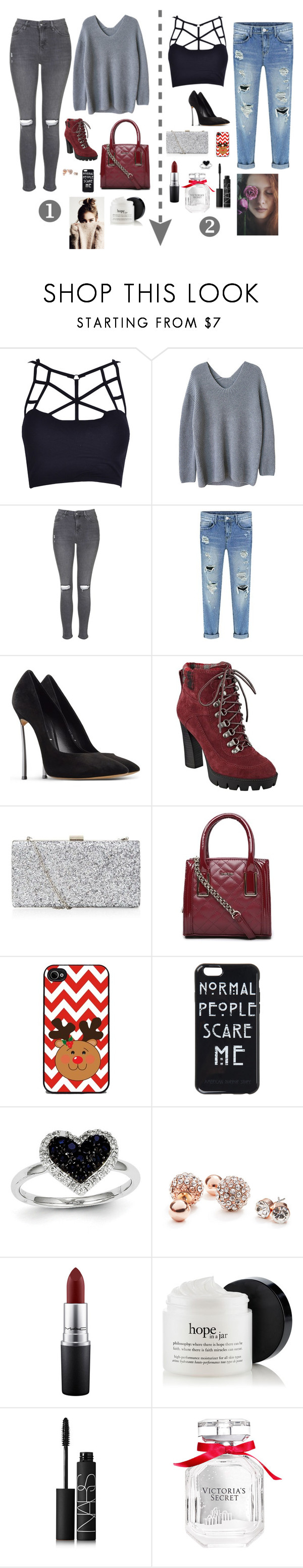"""""""1 or 2??"""" by sofiy112 ❤ liked on Polyvore featuring Topshop, Casadei, Nine West, Bebe, Kevin Jewelers, GUESS, MAC Cosmetics, NARS Cosmetics and Victoria's Secret"""