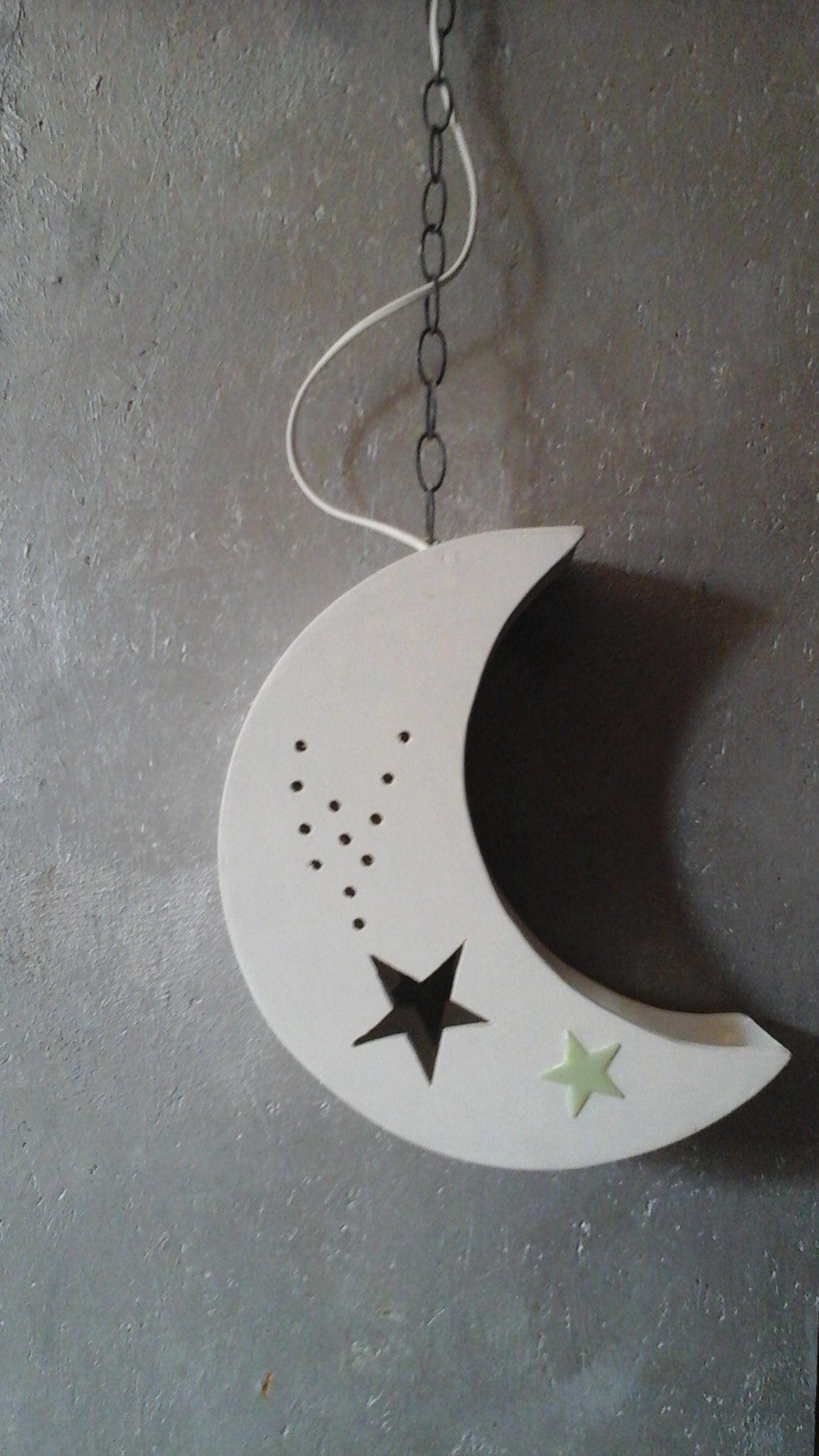 Luminaire lune et étoile filante pour chambre d\'enfant, plafonnier ...