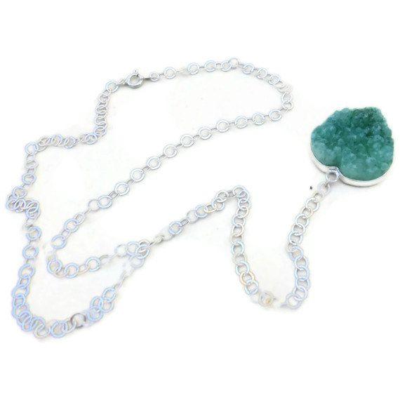 Green Druzy Heart Necklace Valentine Jewelry by jewelrybycarmal, $50.00