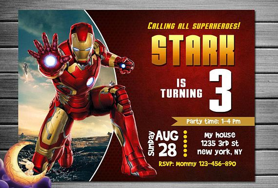 Ironman Invitation Birthday Party Printables Superhero Super