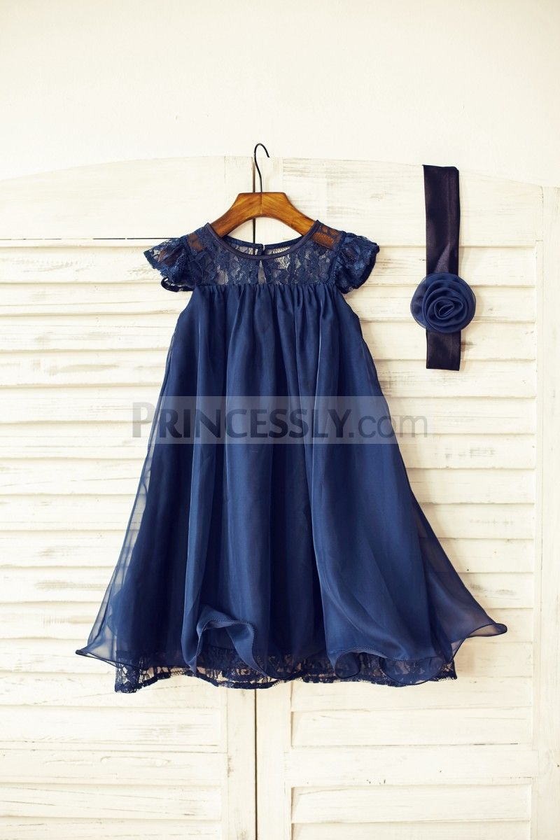 21a69308d0c5 Navy Blue/Ivory/Blush Pink/Grey Lace Chiffon Flower Girl Dress with Cap  Sleeves