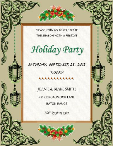 Vintage Holiday Party Invitation Template DIY Invitation Ideas - christmas dinner invitations templates free