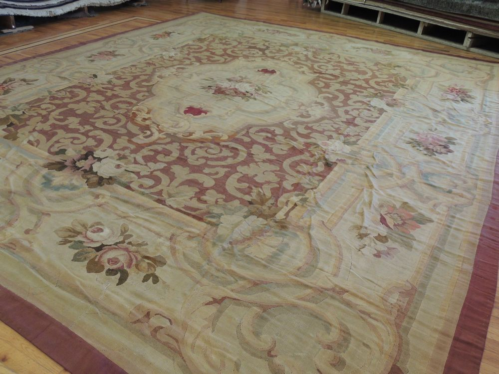 Palace Size Rare Genuine Antique French Aubusson 13x15 13x16 Oriental Rug Ca1880