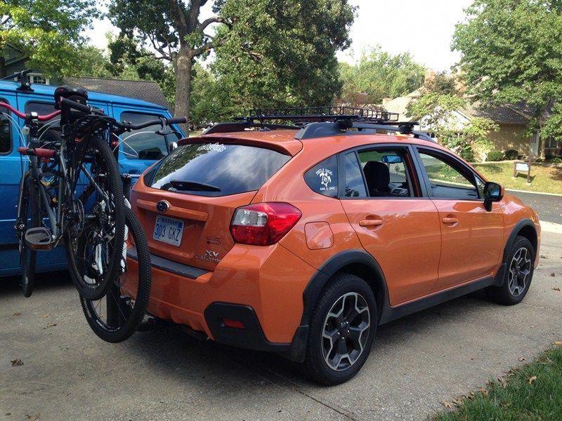 Trailer Hitch And Bike Rack For This Bright Orange Subaru