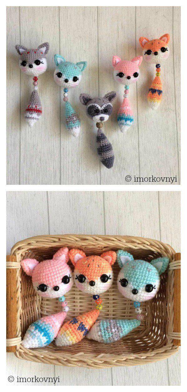 Amigurumi Fox Pendant Keychain Free Crochet Pattern #amigurumifreepattern