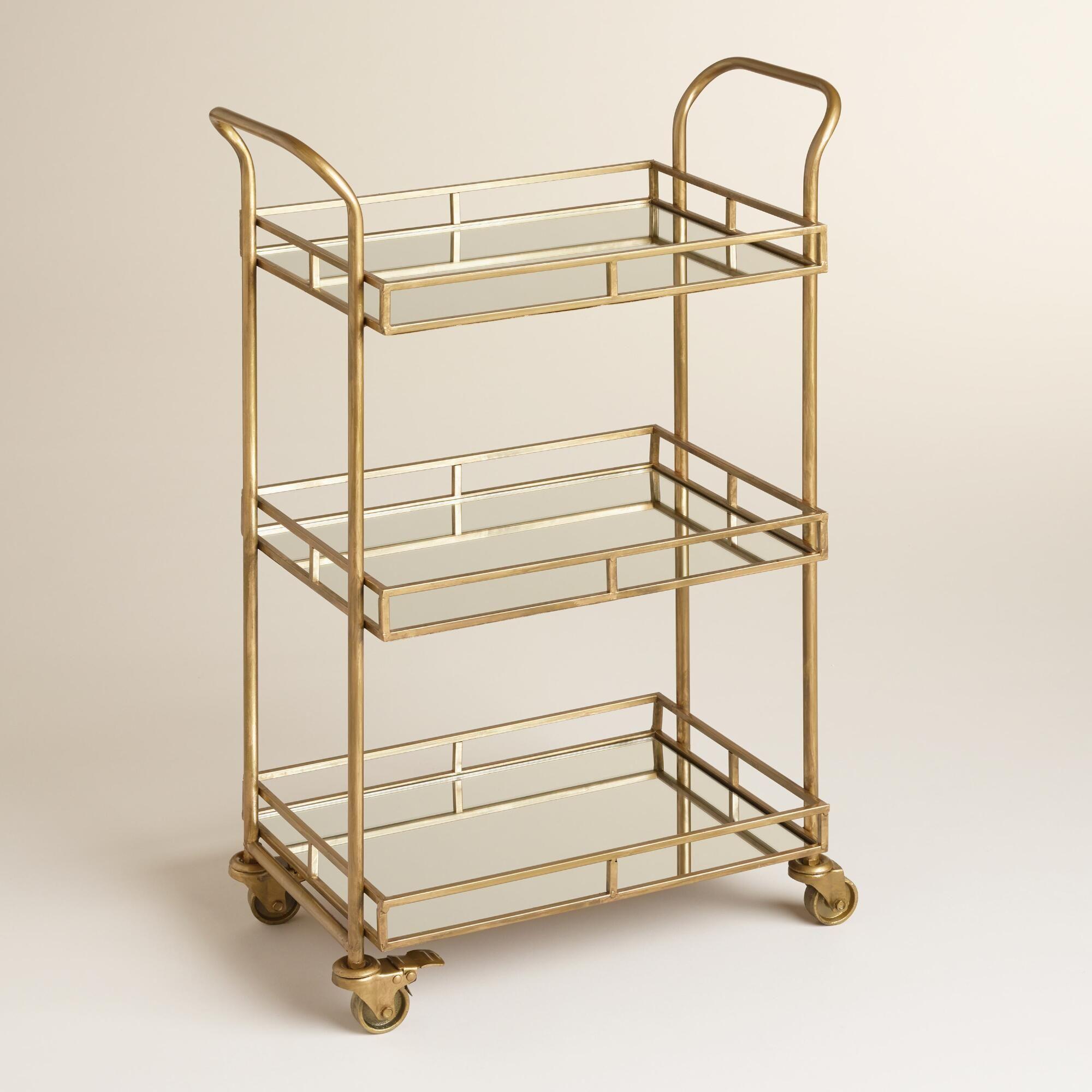 Kitchen island cart world market - Gold Cole 3 Tier Rolling Bar Cart