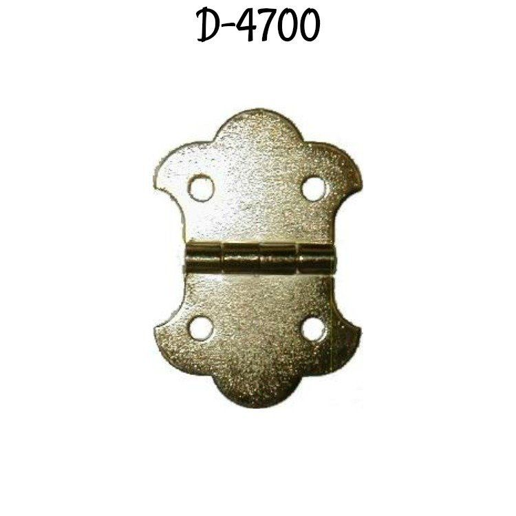 Small Trunk Hinge Brass Plated Stamped Steel - doll house