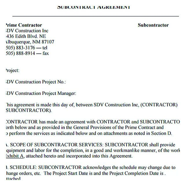 Subcontractor Agreement Template Construction   Subcontractor