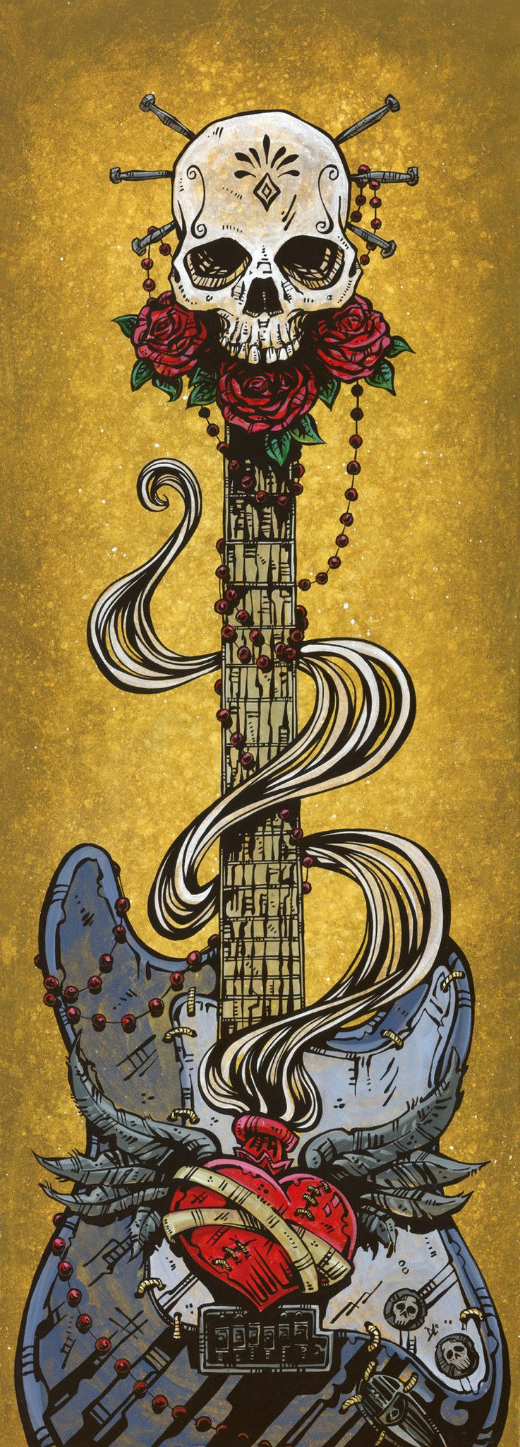 Day of the Dead Art by David Lozeau, Day of the Dead Strat, Dia de los Muertos Art - 1