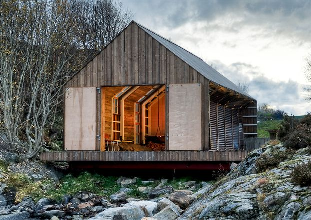 This #cabin house in the #woods is a #modern take on simple living