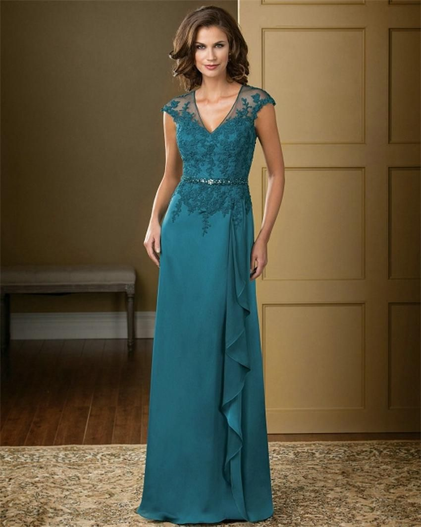 Elegant Teal Color V-Neck Chiffon Long evening dresses 2015 Lace ...
