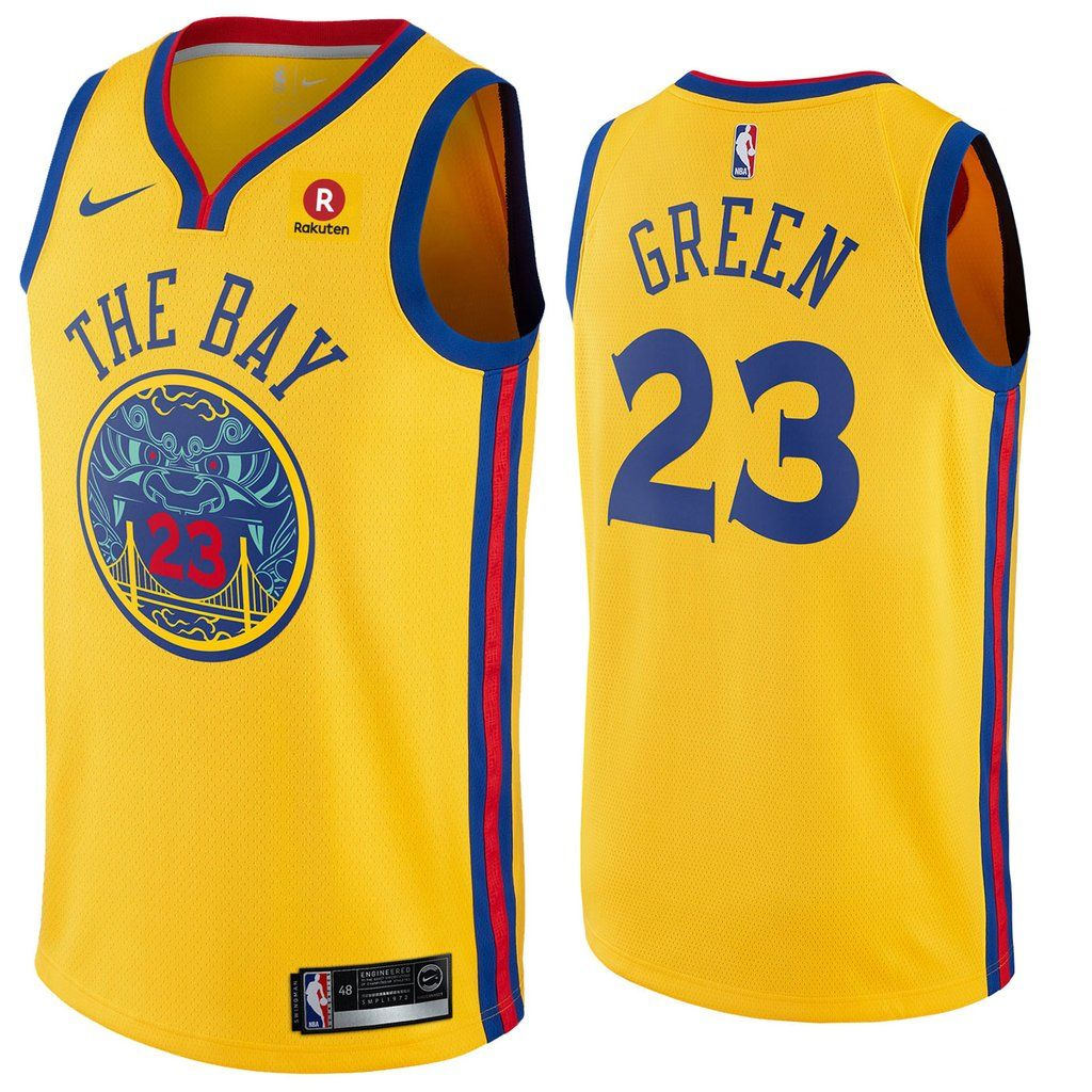 Mens Golden State Warriors 23 Draymond Green Jersey Yellow The Bay