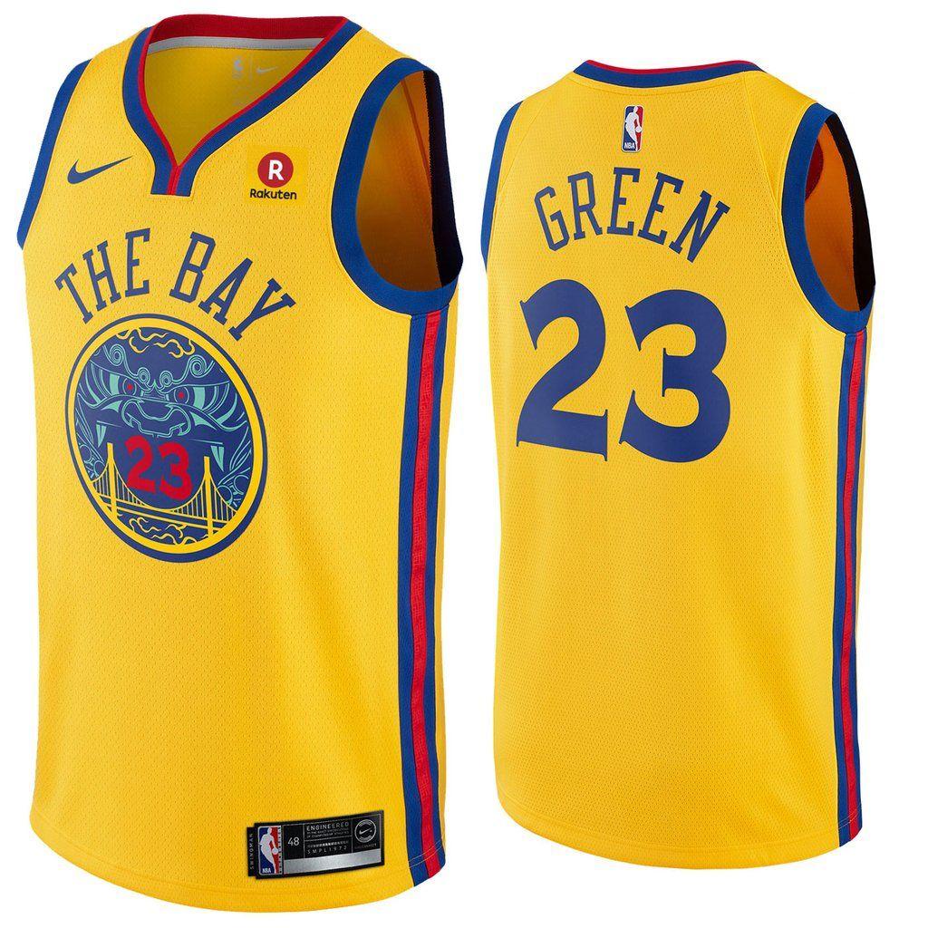 Mens Golden State Warriors 23 Draymond Green Jersey Yellow the Bay Fans  Swingman 505a7a69c