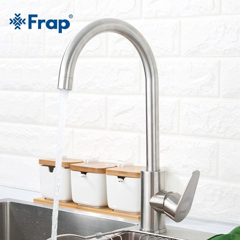 Frap Modern Kitchen Faucet Stainless Steel Single Handle Mixer Sink Tap Single Hole Kitchen Faucet Modern Kitchen Faucet Modern Kitchen Faucets Stainless Steel