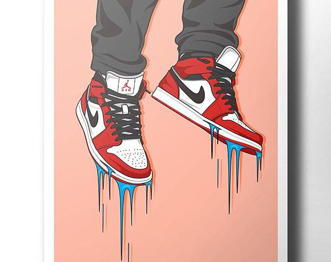 Photo of Air Jordans 1 CHICAGO DIGITAL PRINT Streetwear Nike Adidas Sneakerhead Print Home Decor jordan decor sneaker art supreme print Nike Poster
