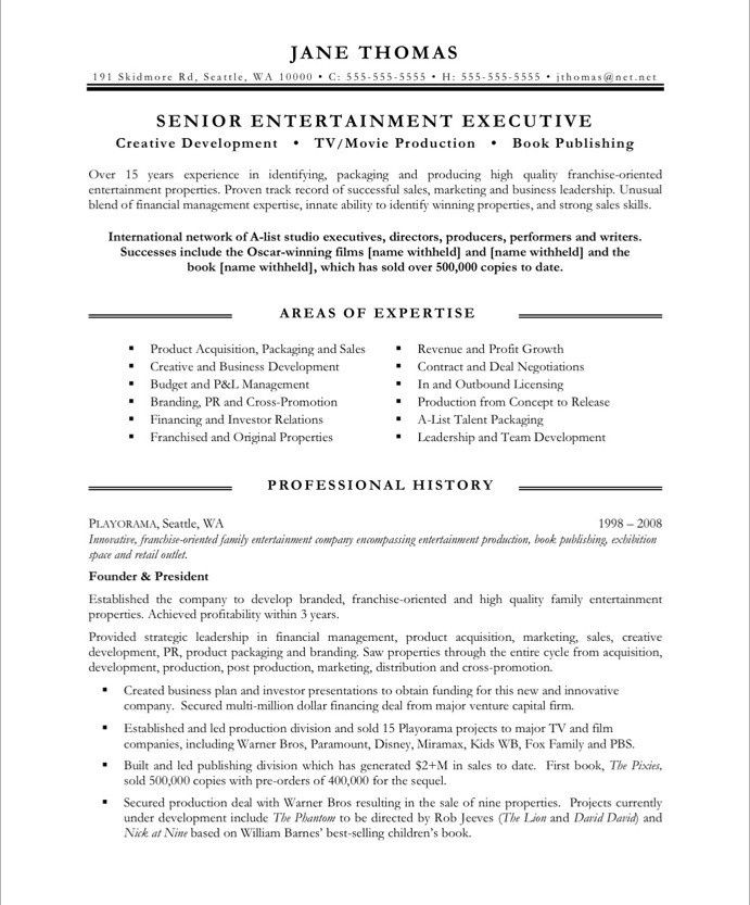 Arts Business Employment Entertainment Individual Resume